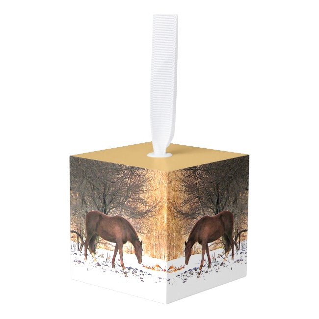 Horse in Winter Snow Animal Holiday Cube Ornament