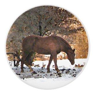 Horse in Winter Snow Ceramic Knob