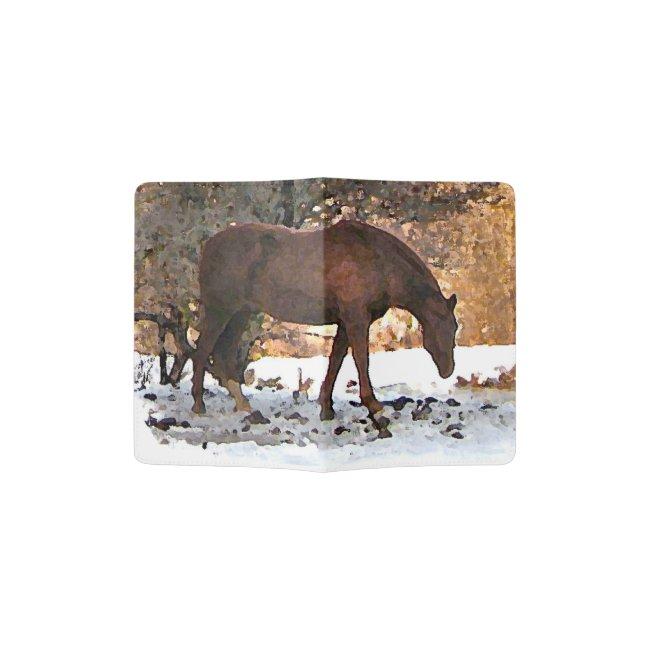 Horse in Winter Snow Passport Holder