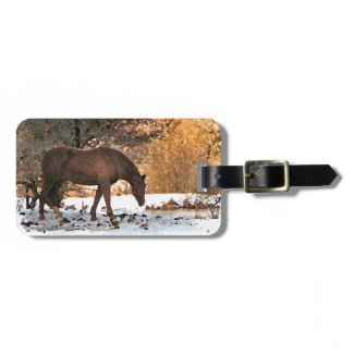 Horse in Winter Travel Bag Tag