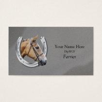 Horse inside horseshoe logo business card