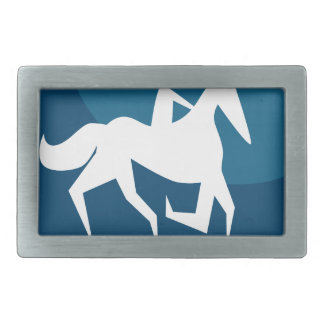 Horse Jockey Race Blue Icon Button Rectangular Belt Buckles