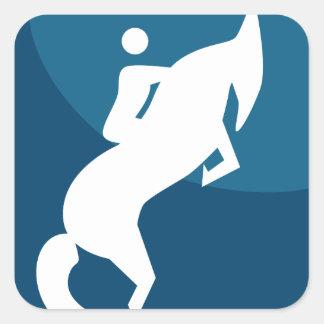 Horse Jockey Race Blue Icon Button Square Sticker
