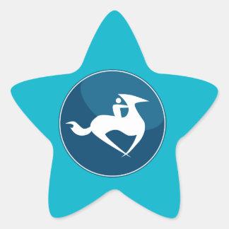 Horse Jockey Race Blue Icon Button Star Sticker