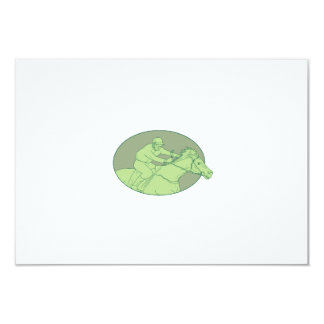 Horse Jockey Racing Oval Drawing Card