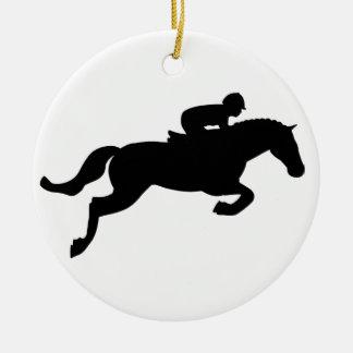 Horse Jump Round Ceramic Decoration