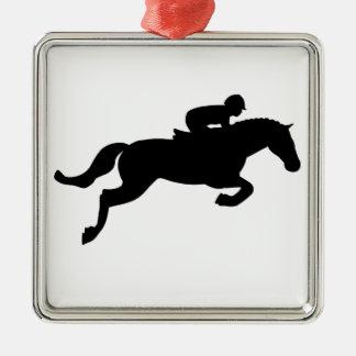 Horse Jump Silver-Colored Square Decoration