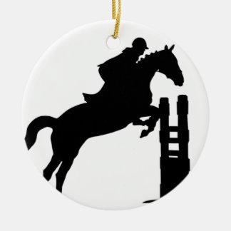 Horse Jump Silhouette Ceramic Ornament
