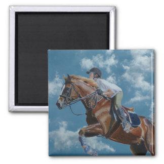Horse Jumper Blue Sky 2 Inch Square Magnet