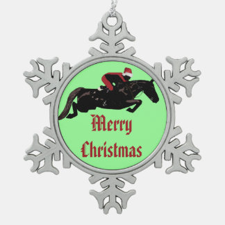 Horse Jumper Christmas Snowflake Pewter Christmas Ornament
