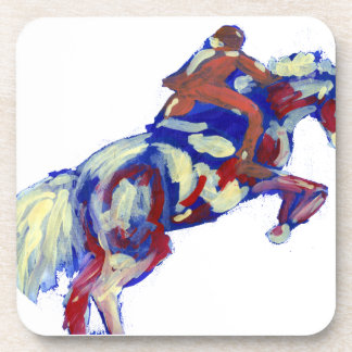 Horse Jumping Abstract Blue White Orange theme Beverage Coaster