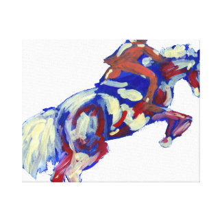 Horse Jumping Abstract Blue White Orange theme Canvas Print