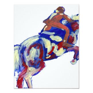 "Horse Jumping Abstract Blue White Orange theme 4.25"" X 5.5"" Invitation Card"