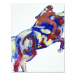 Horse Jumping Abstract Blue White Orange theme 4.25x5.5 Paper Invitation Card