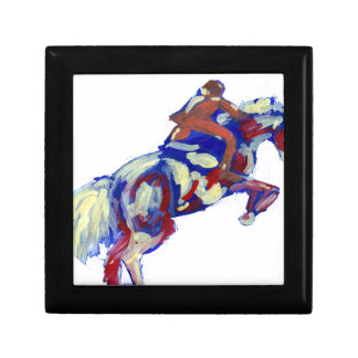 Horse Jumping Abstract Blue White Orange theme Jewelry Box