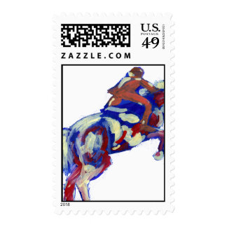 Horse Jumping Abstract Blue White Orange theme Stamp