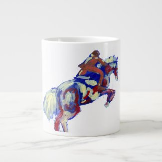 Horse Jumping Abstract Blue White Orange theme specialtymug