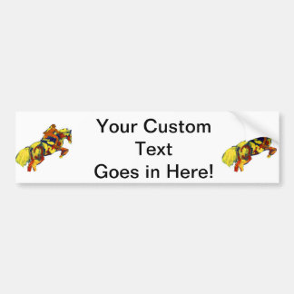Horse Jumping Abstract Red Yellow Blue theme Bumper Sticker