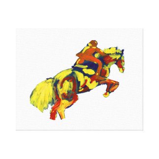 Horse Jumping Abstract Red Yellow Blue theme Stretched Canvas Prints