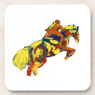 Horse Jumping Abstract Red Yellow Blue theme Beverage Coasters