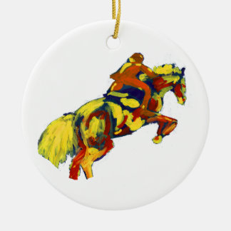 Horse Jumping Abstract Red Yellow Blue theme Double-Sided Ceramic Round Christmas Ornament
