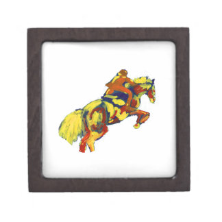 Horse Jumping Abstract Red Yellow Blue theme Jewelry Box