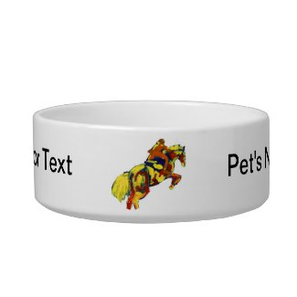 Horse Jumping Abstract Red Yellow Blue theme petbowl