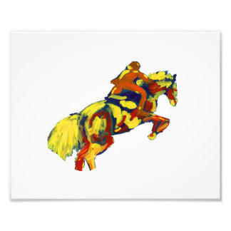 Horse Jumping Abstract Red Yellow Blue theme Photo Print