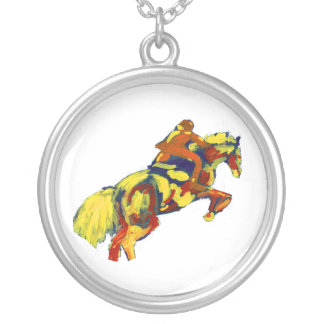 Horse Jumping Abstract Red Yellow Blue theme Round Pendant Necklace