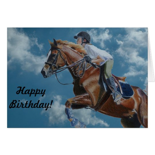 Horse Jumping and Clouds Card