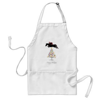 Horse Jumping Christmas Adult Apron