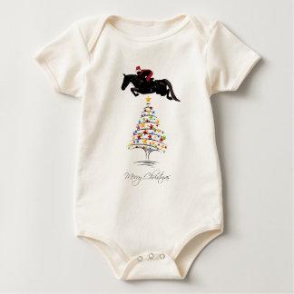 Horse Jumping Christmas Baby Bodysuit
