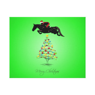 Horse Jumping Christmas Canvas Print