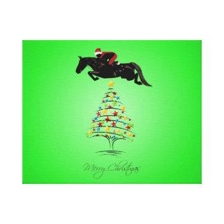 Horse Jumping Christmas Canvas Print