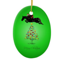 Horse Jumping Christmas Ceramic Ornament