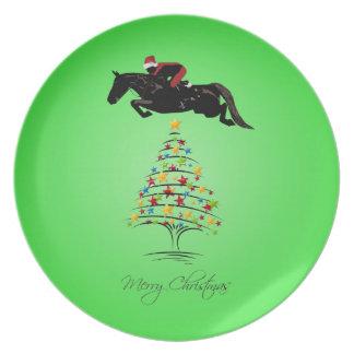 Horse Jumping Christmas Dinner Plate