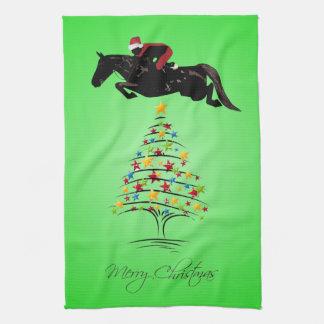 Horse Jumping Christmas Towel
