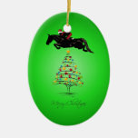 Horse Jumping Christmas Double-Sided Oval Ceramic Christmas Ornament