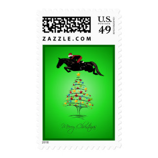 Horse Jumping Christmas Stamp