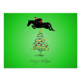 Horse Jumping Christmas Poster