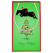 Horse Jumping Christmas Small Gift Bag