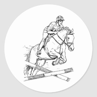 Horse Jumping Classic Round Sticker