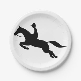 horse jumping icon paper plate