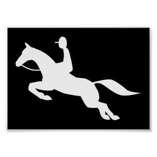 horse jumping icon print