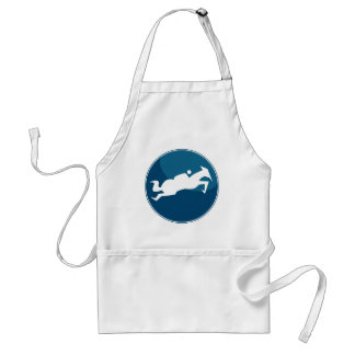 Horse Jumping Jockey Race Blue Icon Button Adult Apron