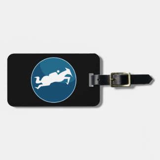 Horse Jumping Jockey Race Blue Icon Button Travel Bag Tags