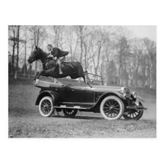 Horse Jumping Over Automobile, 1923 Postcard