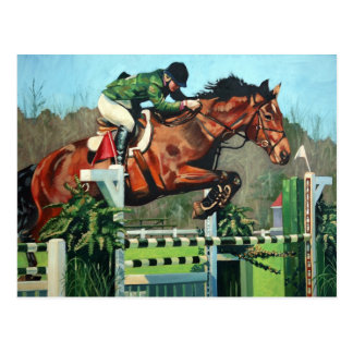 Horse jumping postcard