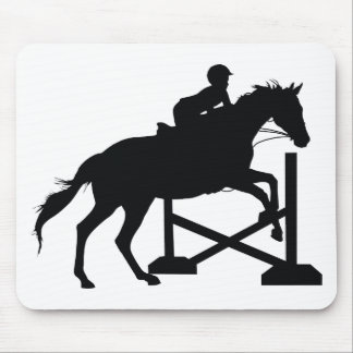Horse Jumping Silhouette Mouse Pad