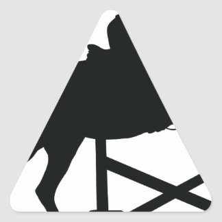 Horse Jumping Silhouette Triangle Sticker